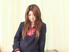 Maya Asian in school uniform rubs her pussy in fro...