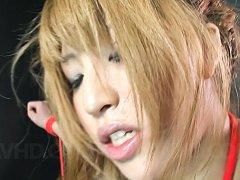 Hatsuka Kobayashi Asian in red ropes has pussy rou...