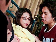 Mizuki Ogawa Asian with specs has nipples and nook...