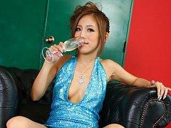 Ramu Nagatsuki  with nude pussy in dress pours cha...