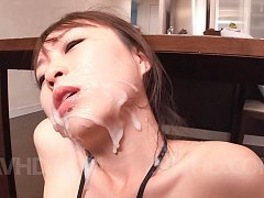 Nozomi Hatsuki Asian with cans out of bra gets cum...