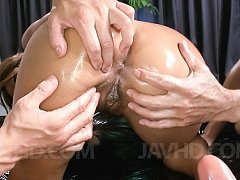 Juri Sawaki Asian is pumped in mouth and in oiled...