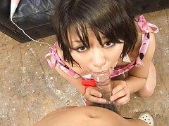 Haruka Uchiyama Asian with ball in mouth has vibra...