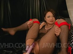 Yuu Haruka in crotchless fishnets is fucked with v...