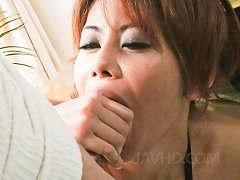 Moe Aizawa Asian in see through lingerie sucks and...