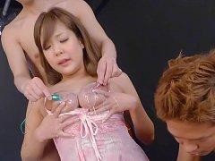 Hiyoko Morinaga Asian has cans out of lingerie and...