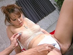 Asuka Asian has cans squeezed over fishnet and vib...