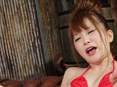 Maomi Nagasawa Asian in red lingerie comes from vi...