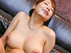 Buruma Aoi gets so much cum on face after is tease...
