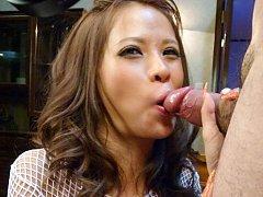 Ema Kisaki Asian with big cans fucks twat and ass...