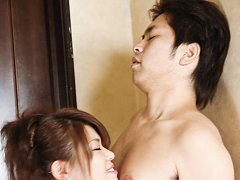 Ruri Kouda Asian pours on her boobs sperm she gets...