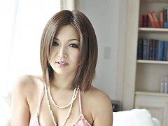 Mai Kuroki Asian with beads on naughty cans is dog...