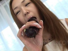 Serina Hayakawa Asian licks banana and dildo befor...