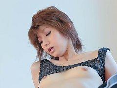 Rei Sasaki Asian has legs spread and pink slit und...