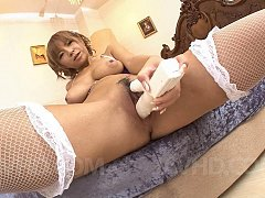 Sumire Matsu Asian with big assets fucks herself w...