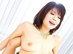 Azumi Harusaki Asian takes two cocks in mouth and...