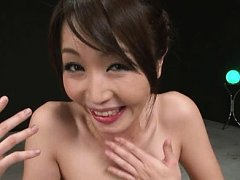 Jav Asian chick with naughty boobs has cum in mout...