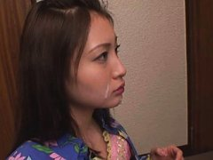 Jav Asian babe gets cum on face as result of her g...