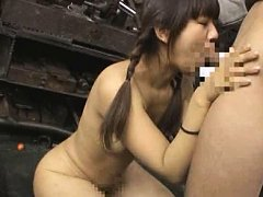 Jav Asian babe with pigtails sucks phallus in aban...