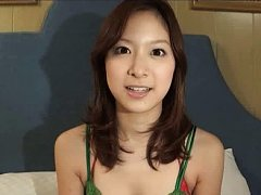 Karen Takahashi Asian in green lace lingerie shows...