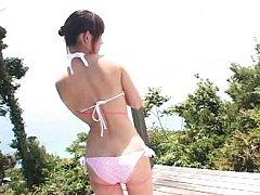 Miyu Takahashi Asian in bath suit plays with ball...