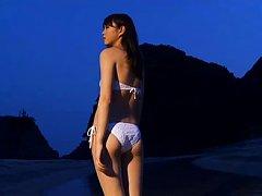 Ai Okawa Asian doll is so sexy while walking on th...