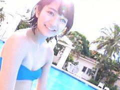 Suzuka Morita Asian in blue bath suit has great ti...
