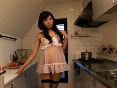 Yu Takaoka Asian is in fishnet stockings and see t...