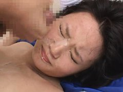 Jav Asian honey with nasty chest gets cum on face...