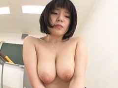 Jav Asian honey has big boobs fondled while riding...