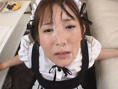 Akie Harada Asian house keeper gets sperm on face...