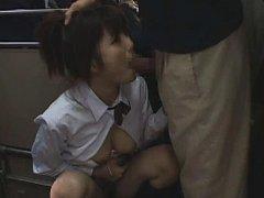 Jav Asian doll in uniform has phallus stuck in mou...