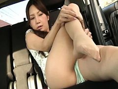 Ena Aso Asian babe shows her beaver in panty and s...