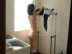 Shizuku Amamiya in bath suit takes uniform off and...