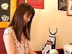 Yurina Takiguchi Asian in cute dress goes to eat f...