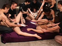 Jav Asian doll and group of galls are aroused with...