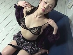 Ryu Asian doll takes boobs out of lace bra and pla...