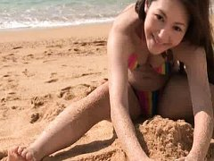Ena Aso Asian babe in colorful bath suit is lustfu...