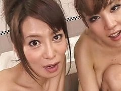 Jav Asian babe and busty chick have cunts rubbed b...