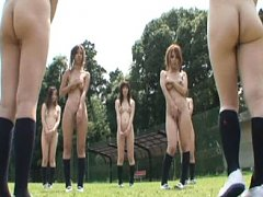 Jav Asian doll and gals try to cover their nude bo...
