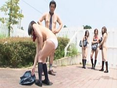 Jav Asian doll and babes take uniform off in class...
