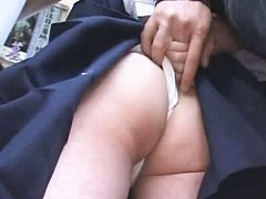 Jav Asian babe has panty stuck between ass cheeks...