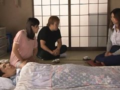 Jav Asian babe and other dame clean phallus of suf...