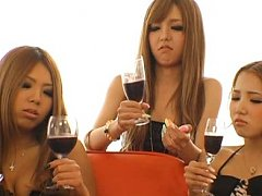 Jav Asian doll and two leering nymphets have a gla...