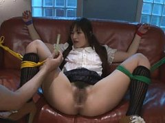Jav Asian doll with tied legs and exposed slit get...