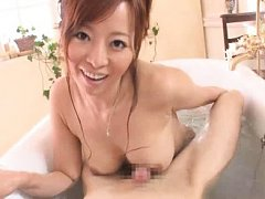 Jav Asian babe rubs dong with palms and big jugs i...