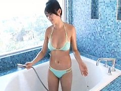 Mikie Hara Asian puts oil and water on her generou...