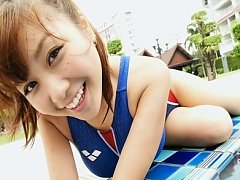 Mai Nishida Asian cute babe shows huge cans in and...