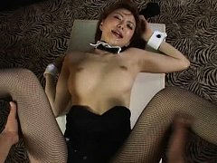 Jav Asian doll with bunny ears has cum on chin aft...