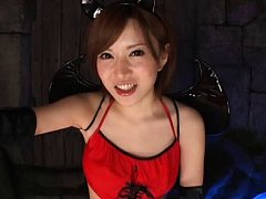 Jav Asian doll in hot black and red outfit rubs di...